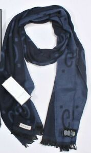 GUCCI Unisex Navy Scarf GG Monogram with Box