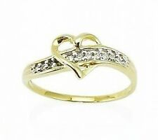10K Yellow Gold Diamond Heart Ring Polished Heart and Diamond Accent Band .05ct