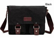 Men's Vintage Canvas Schoolbag Satchel Laptop Shoulder Messenger Bag Small