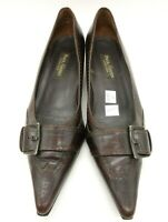 Paul Green Brown Leather Wingtip Buckle Kitten Heels Shoes Women's 6.5 UK / US 9