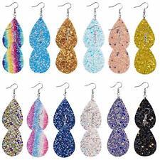 """Faux Leather Teardrop Earrings Lot of 12 Pairs Wholesale Glitter Jewelry 2.28"""""""