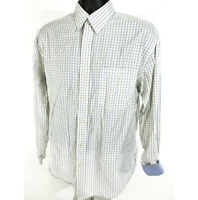 Nautica Shirt Mens Size 16 34 - 35 White Blue Yellow Checked Button Up Long Slv