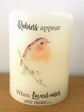 Robins Appear When Loved Ones Are Near - LED Battery Real Wax Candle