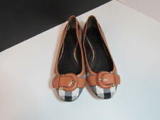 AUTHENTIC BURBERRY NOVA CHECK WOMEN'S SHOES/FLATS WITH BUCKLE SZ 38 ITALY 7 1/2