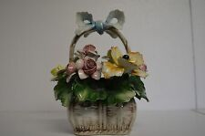 """Capodimonte Beautiful flower basket with several colored roses and bow 7"""" Tall"""