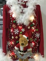 Ugly Christmas Sweater with Teddy Bear and Lights Women's XL