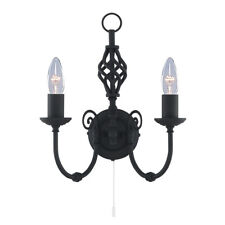 Searchlight Zanzibar 2 Lights Black Indoor Staircase Wall Fitting Bracket Light