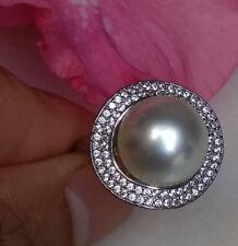 Groß Echte Südseeperle Ring Perlen Silber 925 11mm Perlenring Größe tahitiperle