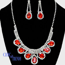 RAVISHING RED & CLEAR CRYSTAL PROM WEDDING FORMAL NECKLACE JEWELRY SET