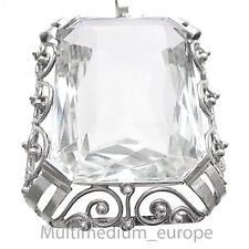 Grand Art Deco Argent Pendentif Cristal de Roche Silver HOMOLOGUE MOUNTAIN CRYSTAL