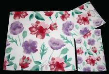 3-Pc Kassafina Lavender Pink Green Floral Velour Bath Hand Fingertip Towels NWT