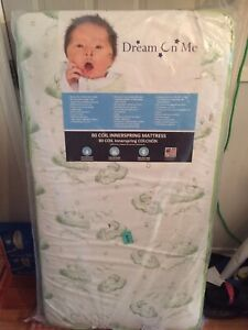 """Dream On Me, Twinkle 5"""" 88 Coil Crib And Toddler Bed Mattress, Green Clouds"""