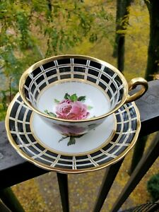 AMAZING Royal Chelsea Teacup and Saucer Set MASSIVE CABBAGE ROSE BLACK & GOLD