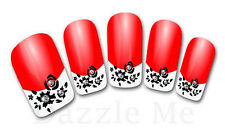 3D Nail Art Decals Transfer Stickers French Tip Design Rhinestones (3D847)