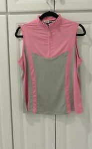 JAMIE SADOCK DKNYGOLF Pink Black/Grey Accents Short Sleeve Woman's Size S