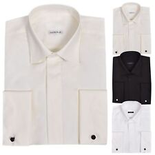 Mens Formal Long Sleeve Full Collar Wing Wedding Dress Shirt