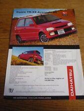 DAIHATSU CUORE TR-XX AVANZATO R4 'POCKET ROCKET'  MID 90's CAR 'BROCHURE' SHEET
