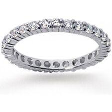 Platinum 1 carat Round Diamond Ring Eternity Wedding Band Size 7, D-E VVS/VS