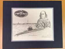 US Navy Submarine Art USS Ben Franklin SSBN 640 Pencil Sketch Print