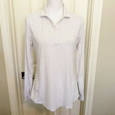Footjoy Ladies Polo Golf Shirt Sz M White Polka Dot Vented LS Lightweight
