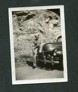 Vintage Car Photo Man Wii Army Uniform w/ 1940 Ford Std w/ Custom Trim 394158