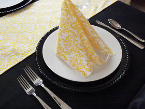 Yellow Floral Napkins Wedding Decor Table Centerpiece Damask Linens Napkin Set