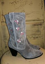 SYCHELLES GRAY LEATHER FLORAL WESTERN HIGH HEEL COWBOY BOOTS LADIES RODEO 6.5 M