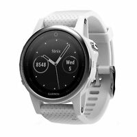 Garmin fenix 5s 42mm Multisport GPS Fitness Watch Silver with Carrara White Band