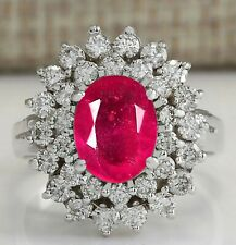 2.00Ct Natural Burmese Ruby With EGL Certified Diamond Ring In 14KT White Gold