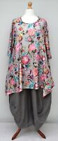 "PLUS SIZE STUNNING FLORAL A-LINE TUNIC*GREY*BY AKH GERMANY BUST UP TO 52"" XL-XXL"
