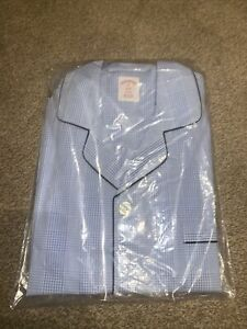 Brooks Brothers Blue Gingham Pyjama Set RRP £130 Button Up Shirt/ Cotton/ Check