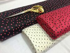 *NEW* Smooth Liquid Satin Black/Crimson/Ivory Polka Dots Prints Fabric*FREE P&P*