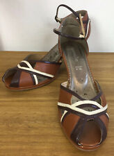 Accessorise platform Women's Shoes UK Size 8 In Brown 70'S Style peep toe