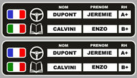 STICKER 2 X SET SUPPORT NOM PILOTE + COPILOTE + DRAPEAU 20cm RALLYE COURSE 012