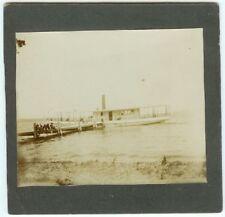 VINTAGE NAUTICAL LEISURE PONTOON BOAT:  Recreation Boat at Dock Cabinet Card