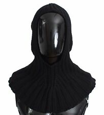 NWT $500 DOLCE & GABBANA Black Cashmere Knitted Crochet Hood Scarf Hat One Size