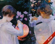TWO GIRLS LIGHTING FLOATING SKY LANTERNS OIL PAINTING ART PRINT ON REAL CANVAS