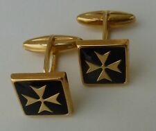new gold plated square cufflinks maltese cross with black enamel barrel style