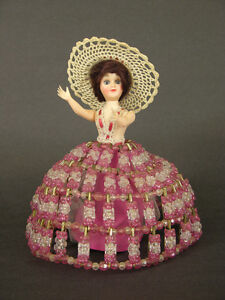 """1950's-60's Home Made Southern Belle Safety Pin & Bead Doll, 8"""""""