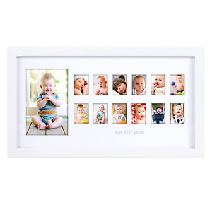 My First Year Photo Frame Moments Baby Keepsake Picture Display Holder White