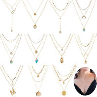 Women Boho Multi-layer Long Chain Pendant Crystal Choker Necklace Jewelry Gifts