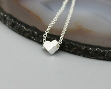 Heart love romantic gift necklace small dainty silver tone