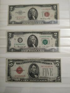 Banknotes Lincoln five dollars and two dollars Jefferson n. 3 banknotes