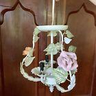 Vintage Metal Shabby Chic Pastel Floral Rose Leaf Hanging 3 Light Chandelier