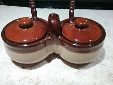 Vintage Two Tone Brown Ceramic Jelly/Jam Double Ccovered Server With Spoons