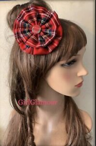 Royal Stewart Tartan Rosette Hair Bow Scottish Wedding Sash Burns Night Hairband