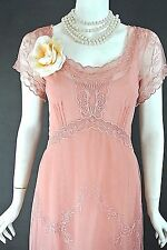 Nataya Dress Sale Coral/Pink Lace Vintage style Embroidered Tulle Formal S