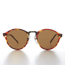Brown Round Pantos Vintage Sunglass with Metal Bridge and Brown Lens - Luca