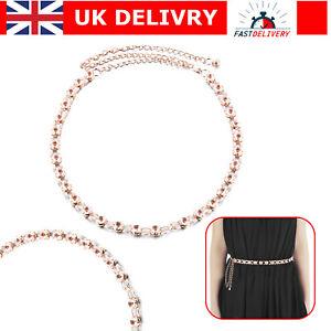 Crystal Diamante Waist Belt Gold Metal Adjustable Chain for Girls Women Dresses