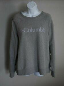 Columbia Gray Crewneck Sweatshirt Purple Logo Womens Size XL